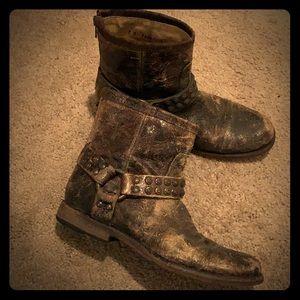 Frye vintage Phillip Studded Harness Boots